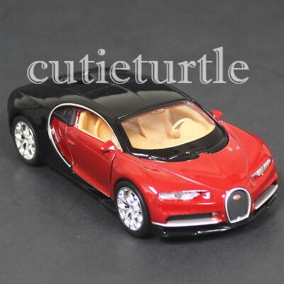 4 5  Welly Bugatti Chiron Diecast Toy Car 43738D 2 Tone Black Red