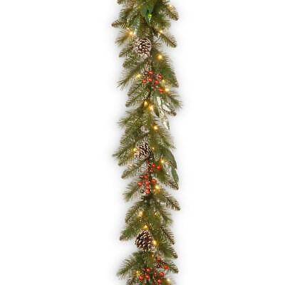 National Tree Company 9 ft. x 12 in. Frosted Pine Berry Collection Garlands ()