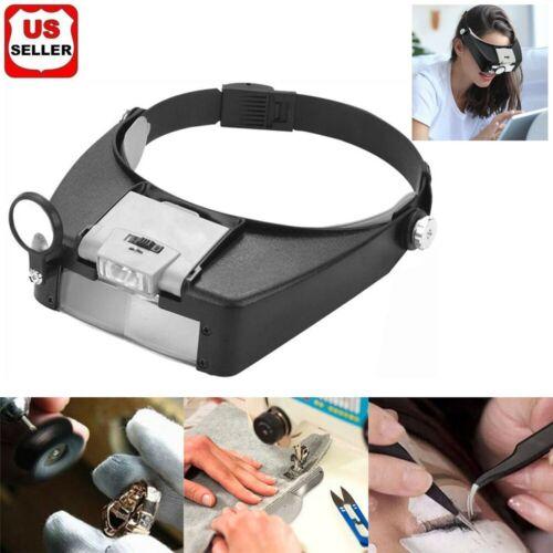 Jewelers Head Headband Magnifier LED Illuminated Visor Magnifying Glasses Loupe Jewelry & Watches