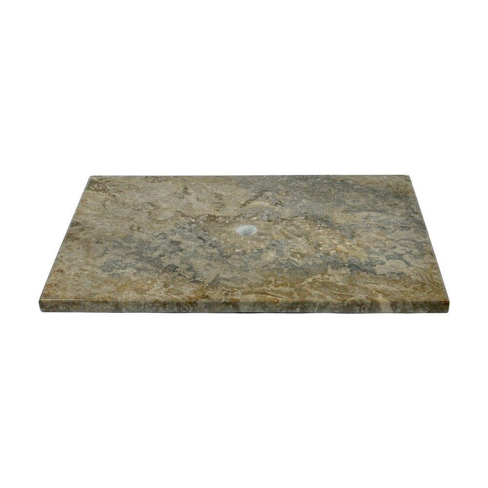 WOHNFREUDEN Waschtisch-Platte Waschbecken Bad Marmor grau 80x52x3 cm