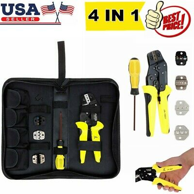 Insulated Wire Terminals Connectors Ratcheting Crimper Crimping Tool Kit Set Us