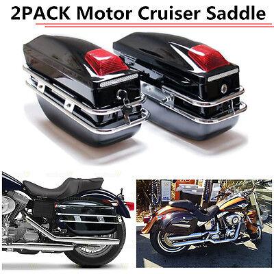 Black Hard Saddle Bags Trunk Luggage Motorcycle Cruiser for Harley US STOCK