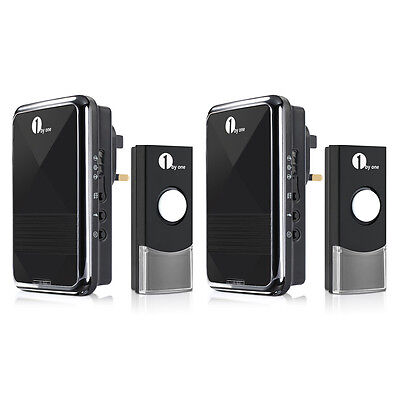 2 Pair 1byone Easy Chime Portable Plug-in Wireless Home DoorBell Chime Push Bell