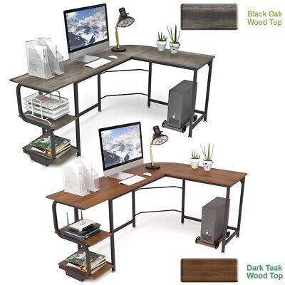 L-shaped Corner Computer Desk Home Office Study Laptop Pc Work Workstation Table