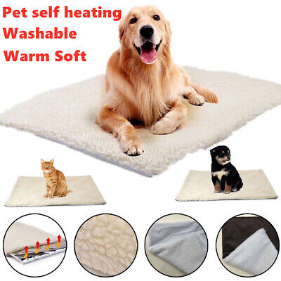64CM Washable Self Heating Dog Pet Mat Bed Pad Rug Warm Puppy Blanket Cushion UK