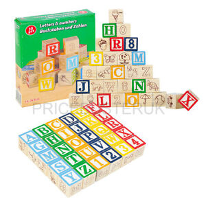 New Childrens Wooden Blocks 30pcs ABC Alphabet Numbers Picture Blocks Counting