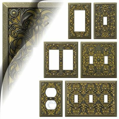 Antique Brass Filigree Switch Plate Arabesque Wallplate Toggle Rocker Outlet GFI