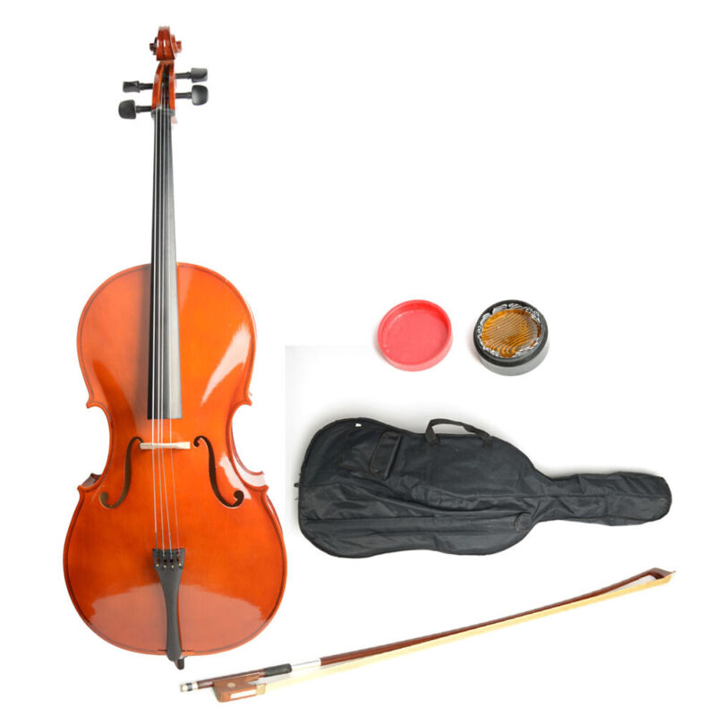 High Quality 4/4 Full Size Student Wood Cello + Bag + Bow + Rosin UK STOCK