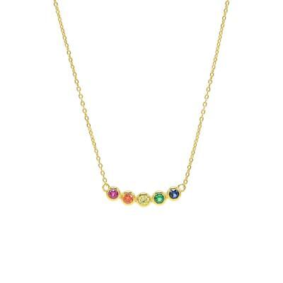 Gold Over Sterling Pendant - 14K Gold Over Sterling Silver Blue Sapphire & Multi Color Bar Pendant Necklace
