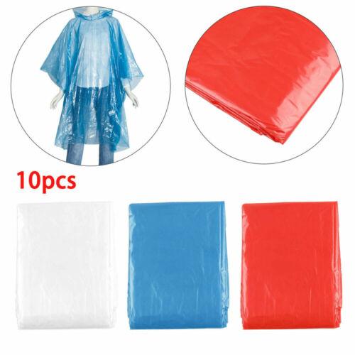 10pcs Adult Waterproof Emergency Disposable Rain Coat Poncho