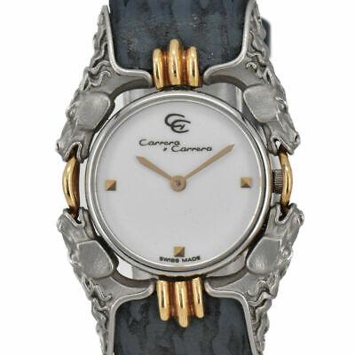 Auth Carrera y Carrera Caballos 115 SS/18K/Leather Quartz Women's Watch N#93381