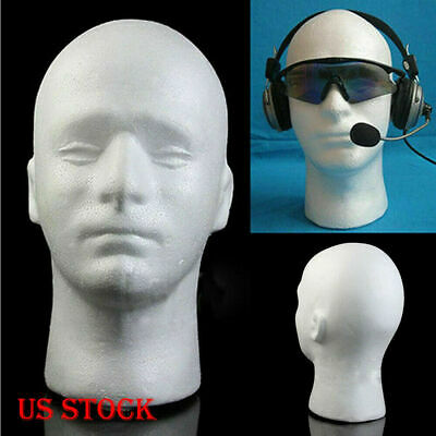 White Male Styrofoam Foam Mannequin Manikin Head Model Wigs Glasses Hat Display