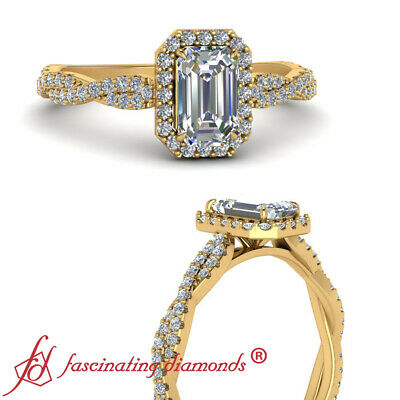 .75 Carat Emerald Cut Diamond Halo Vine Engagement Ring For Women In Yellow Gold