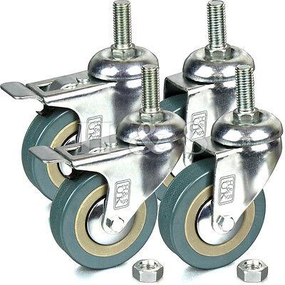 4 x Heavy Duty 75mm Rubber Swivel Castor Wheels Trolley Furniture Caster - Screw