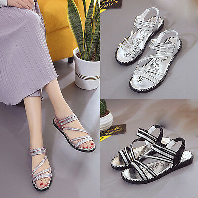 Women Cross-tied Elastic Band Gladiator Flat Shoes Sandals Comfortable Shoes