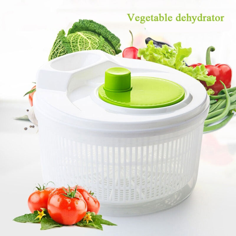Plastic Large Salad Spinner Leaf Dryer Lettuce Veg Drainer D
