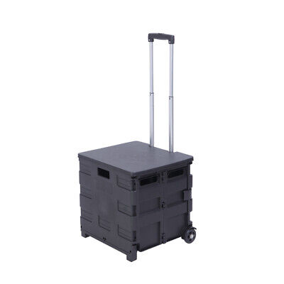 Us Heavy Duty Quik Cart Two Wheeled Collapsible Handcart With Black Lid Rolling