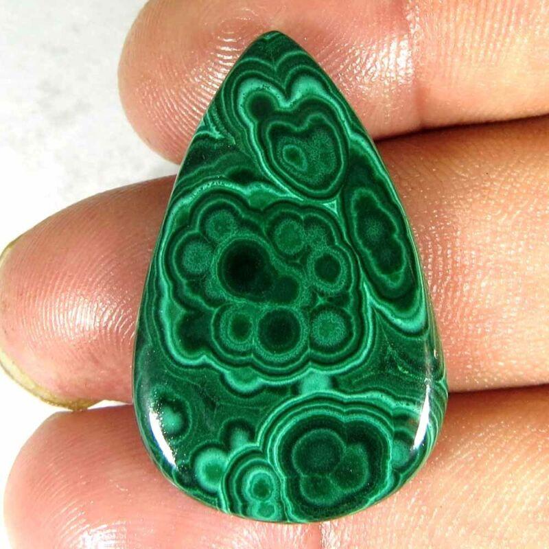 27.90Cts.100%Natural Green Classic Malachite Pear Cab 20x31x3mm Loose Gemstone