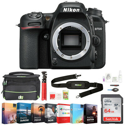 Nikon D7500 20.9MP DX-Format 4K UHD DSLR Camera Body, Refurbished + 64GB Bundle