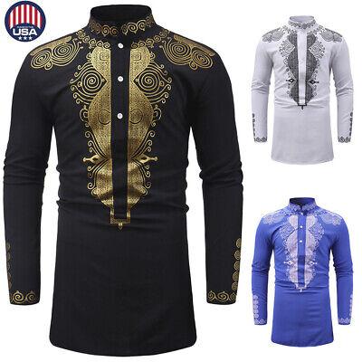 - Summer Men's Luxury African Print Long Sleeve Dashiki Shirt Top Special Blouse