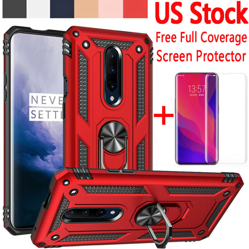 For OnePlus 7 Pro Shockproof Armor Metal Ring Stand Case Cov