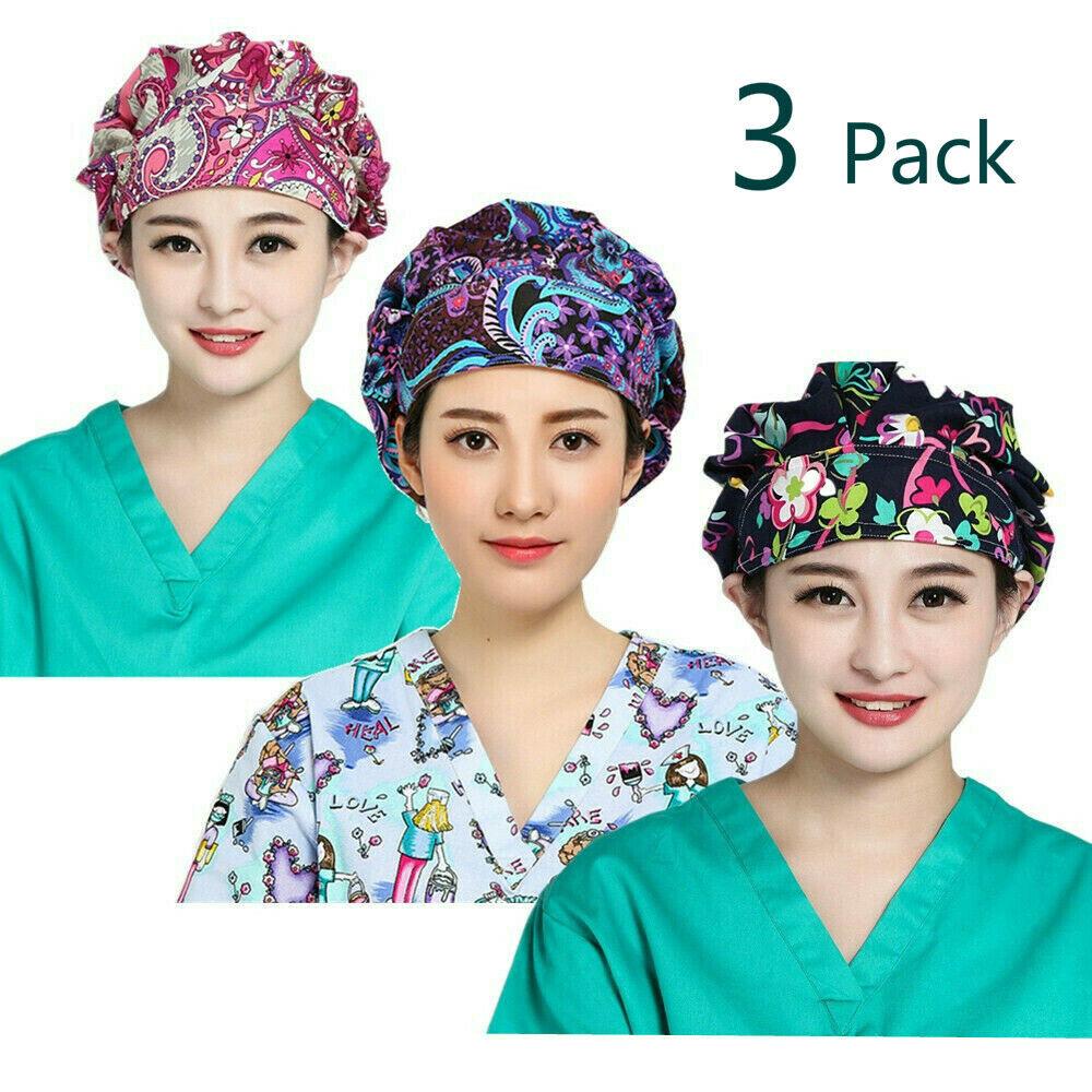 LTifree 3PC Bouffant Scrub Hats Men Women Fashion Printed Sc