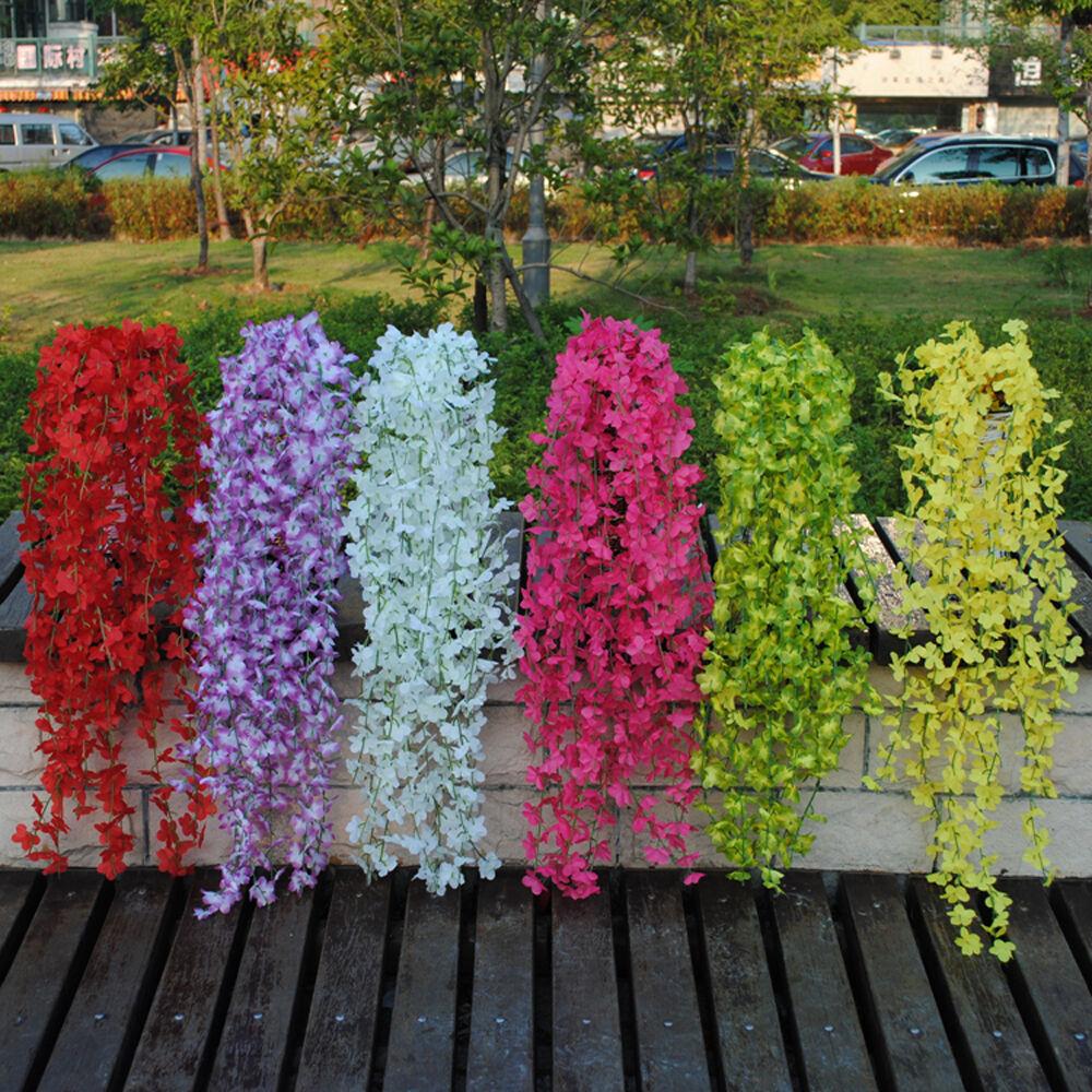 Artificial Rose Jasmine Lavender Flowers Vine Ivy Garland Wall Home