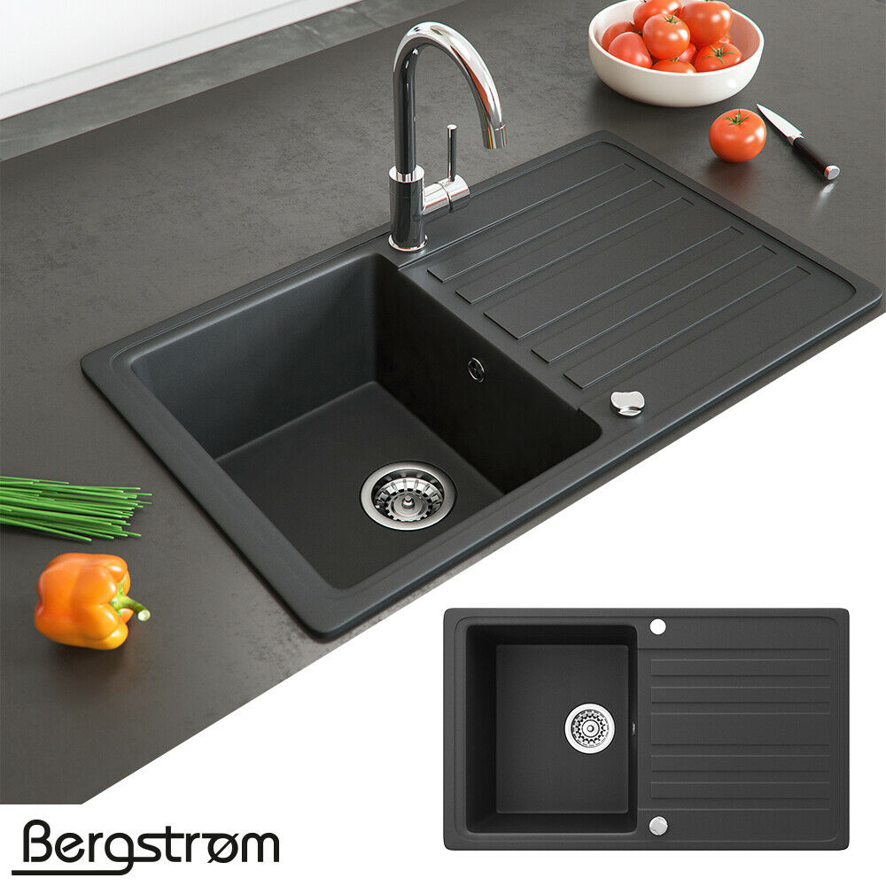 Bergström Granit Spüle Küchenspüle Einbauspüle Spülbecken 765x460mm Farbasuwahl Schwarz