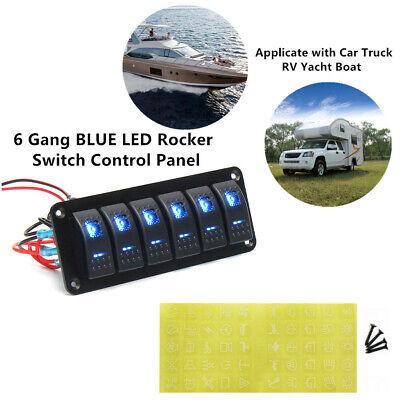 6 Gang Blue Led Rocker Switch Control Panel Circuit Car Race Boat Marine Rv Ip65