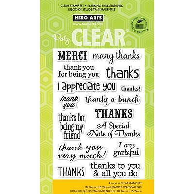 Hero Arts Thanks A Bunch  Cl663 Clear Cling  Set Of 15 Merci   I Appreciate You