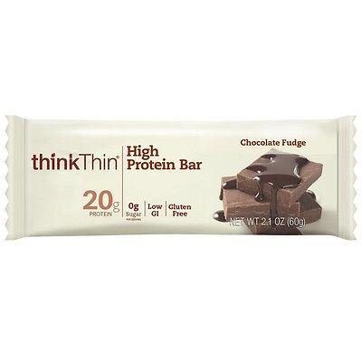 Think Thin High Protein Bars, Chocolate Fudge 2.1 oz bars, 10 bars (Pack of 8)