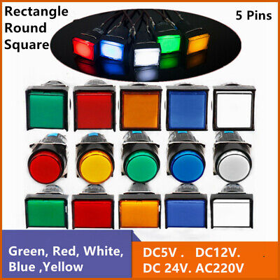 Push Button Switch Squarerectangularround Led Power Signal Lamp 5 Pins 16mm