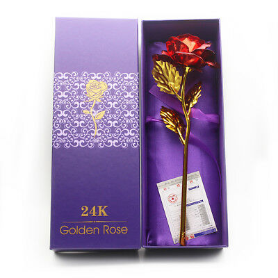 Valentines Day Romantic Gift 24K Gold Plated Rose Golden Flower For Your Love