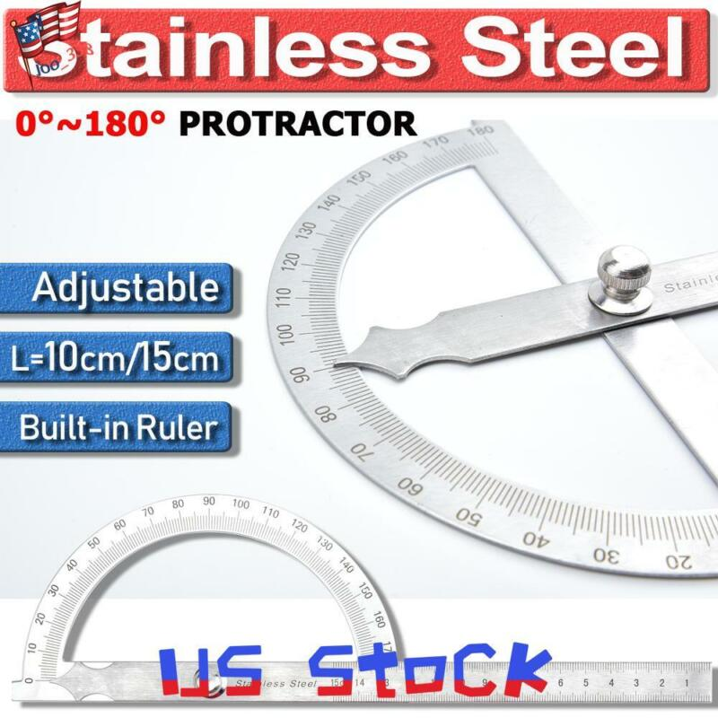Stainless Steel 180° Protractor Rotary Angle Finder Craft Arm Ruler Math Tool US