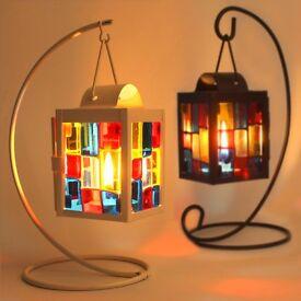 100 x Brand New Authentic Moroccan Style Mini Glass Lantern Tealight Holders