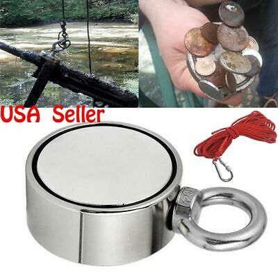 Round Double Sided 800lbs Fishing Magnets Or Rope Super Strong Neodymium Pulling