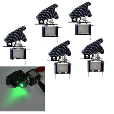 Lot 5 Dc 12v Aircraft Type Carbon Fiber Green Led Toggle Switch Control Us