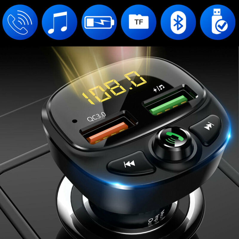 HY87-QC3.0 Fast Charge Car Bluetooth Car Charger Dual USB Car Cigarette Lighter