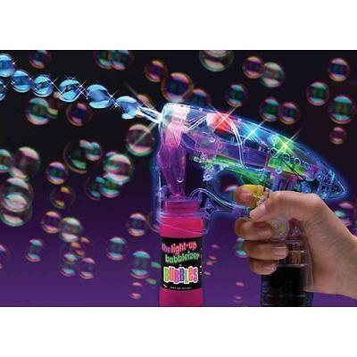 Flashing Bubble Gun (LED Bubble Gun With Sound Flashing Light Up Bubbles Blaster Squirt Blower)