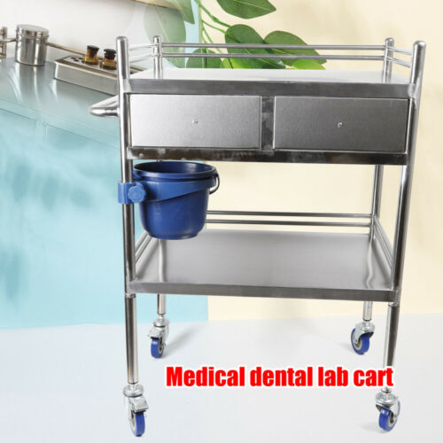 2 Layers Stainless Steel Hospital Medical Dental Lab Trolley Cart & Drawer 1