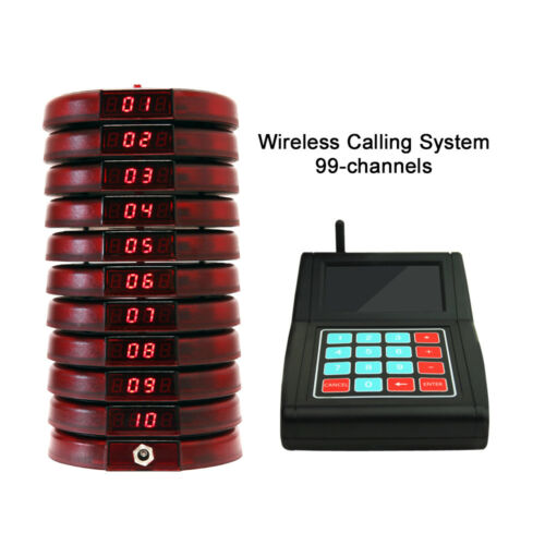 restaurant red guest coaster pager wireless paging system 10 pagers 1 keyboard