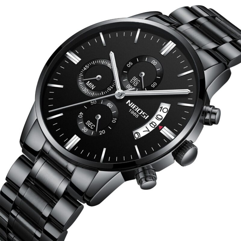 Armbanduhr Herrenuhr Edelstahl Chronograph Analog Quarz Uhr Schwarz NEU