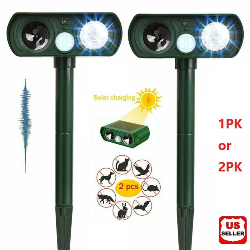 1/2PK Animal Repeller Ultrasonic Solar Power Outdoor Pest Cat Mice Sensor PIR US