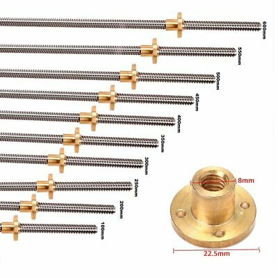 600-1000mm T8 Lead Screw Lead 8mm Trapezoidal Acme Threaded Rod Wnut 3d Printer
