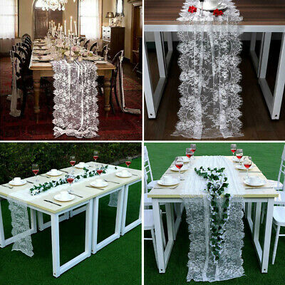 Lace Table Runners Wedding (White Lace Table Runner Overlay Cover Rustic Chic Wedding Reception Table)