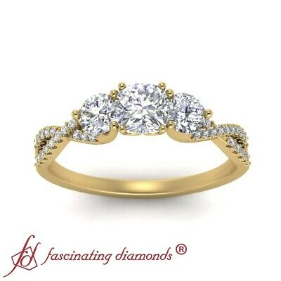 1 Carat Cushion Cut Diamond Trellis 3 Stone Engagement Ring In 18K Yellow Gold 2
