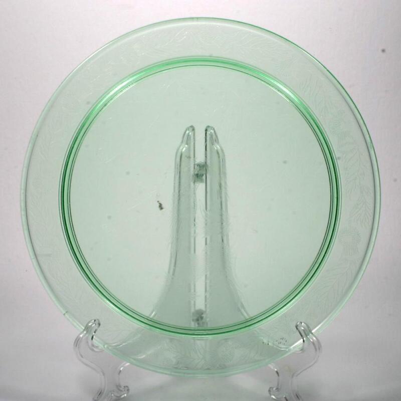 Macbeth-Evans Thistle Cake Plate Green Depression Glass Vintage Hard to Find