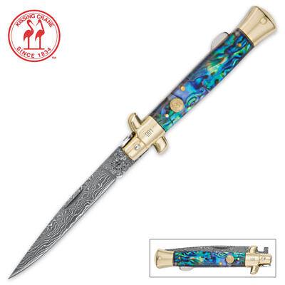"9"" Forge Damascus Folding Pocket Knife Italian Stiletto Milano Godfather Custom"