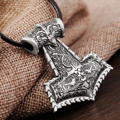 Pattern Stylized THOR'S HAMMER MJOLNIR MJOLLNIR MJÖLNIR VIKING PENDANT Necklace