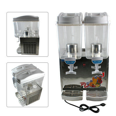 360W Commercial 2 Tank Juice Beverage Dispenser Cold Drink Fruit Ice Tea